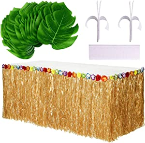 Luau Table Skirts, Tropical Grass Table Skirts for Hawaiian Party Decorations, Luau Party Supplies, Tropical party favors, Table Skirts Decor(Yellow)