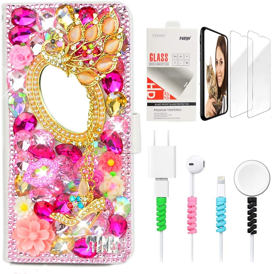STENES Bling Wallet Phone Case Compatible with Google Pixel 4a 5G Case - Stylish - 3D Handmade Girls Mirror Peacock Pendant Flower Leather Cover with Screen Protector & Cable Protector - Pink