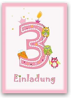 Schön 12 Einladungskarten Kindergeburtstag Zum 3. Geburtstag In Rosa Mit Eulen    Geburtstagseinladung Mit Eule Für