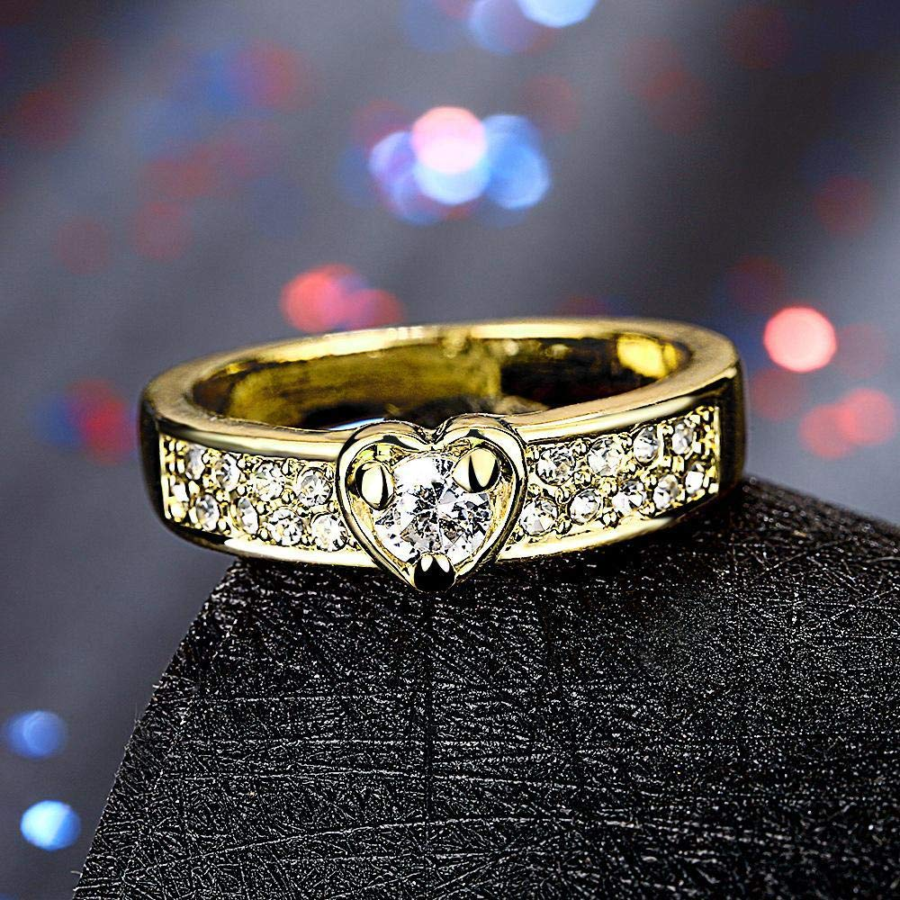 Size Alloy US Yards 7# DTZH Rings Jewellery Womens Rings European Gold Alloy Inlaid Heart Zircon Ring Material