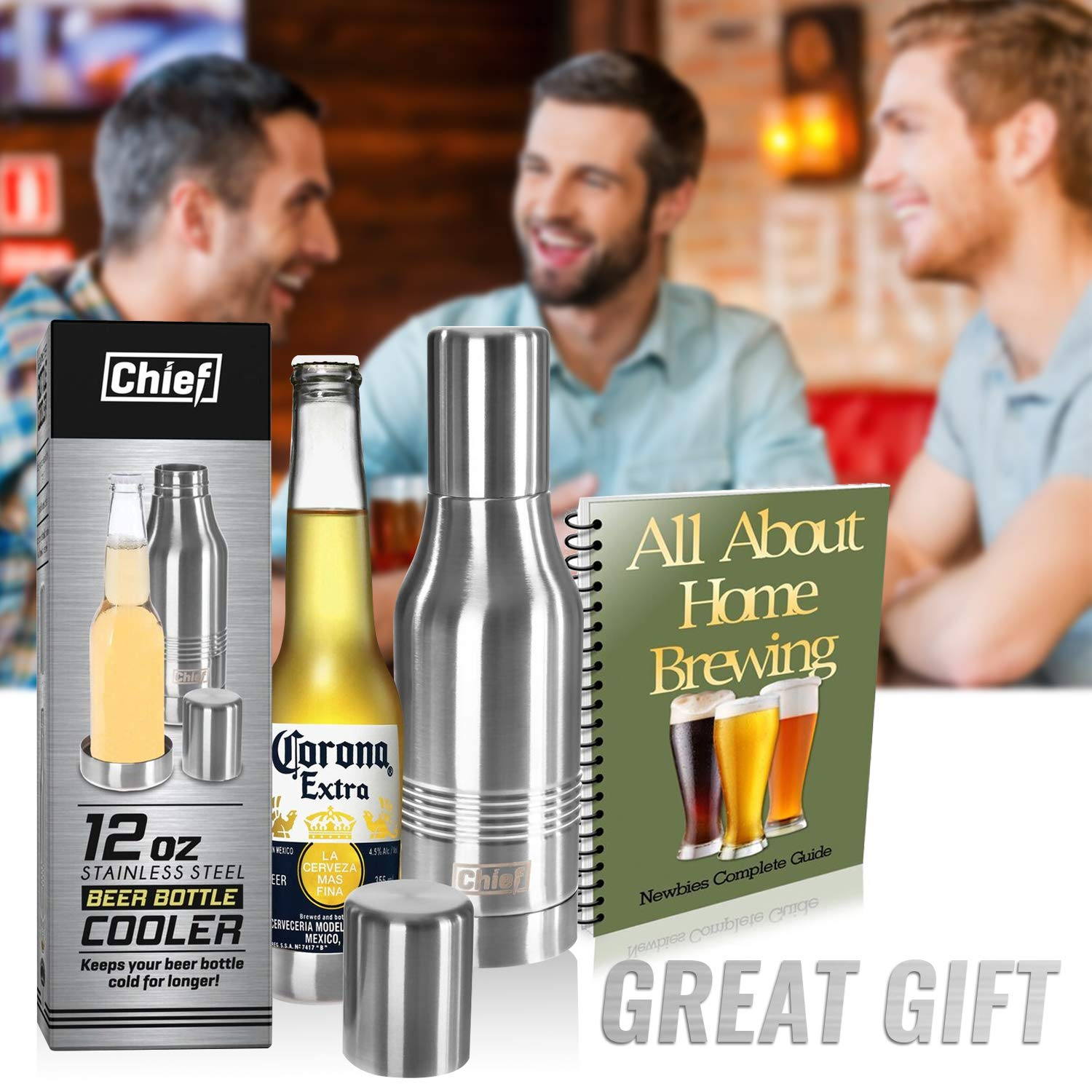 Beer Bottle Cooler- Double Wall Stainless Steel Beer Bottle Insulator. Great Gift ! BONUS e-Book and Gift Packaging.