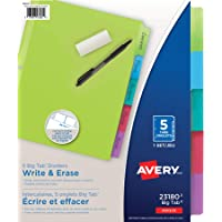 Avery Write & Erase Big Tab Dividers, 5 Tabs, 1 Set, Brights Multi-Colour (23180)