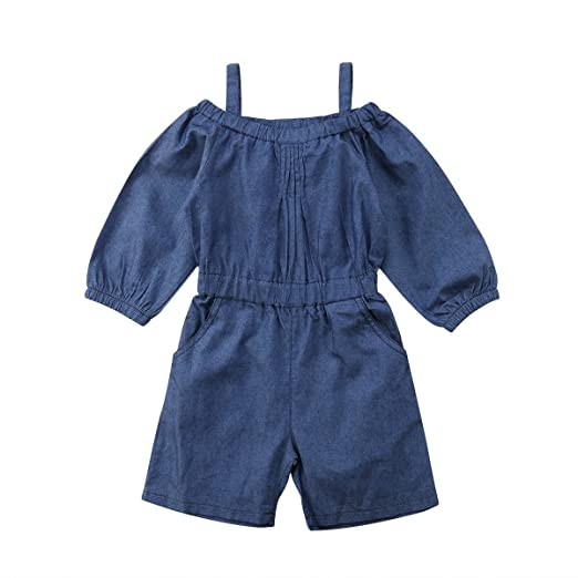 7acc0dabaac87 Infant Toddler Kids Girls Denim Jumpsuit Off Shoulder Jumpers Clothes  Bodysuit Romper Outfits Sunsuit Playsuit (