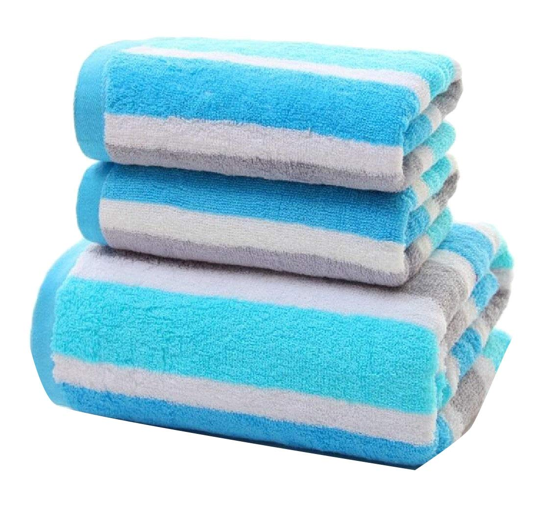 Maisicolis Striped No Fading Dressy Softness Ideal for Everyday use Quick Drying Cotton Easy Care Bath Sheet Blue 70140cm