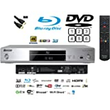 Pioneer Multiregion BDP-180 3D Blu-ray/DVD(MULTIREGION)/CD Player with 4K Upscaling and Integrated Wi-Fi and HDMI Lead SILVER