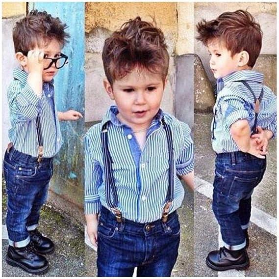 FidgetKute - Conjunto de 2 piezas de camisa y pantalones de mezclilla con tirantes para niños, ropa casual, camisa a rayas azules + pantalón vaquero n.º 80 (edad: 1 a 2 años):