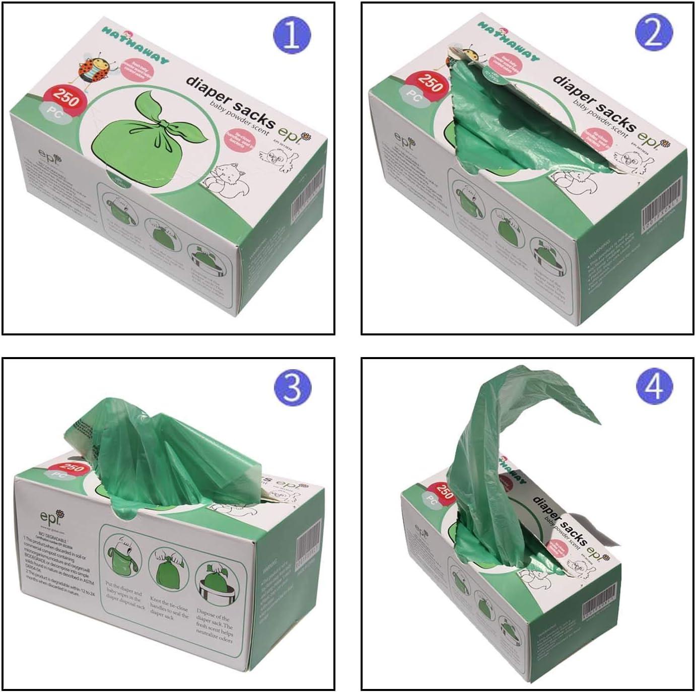 Bolsas desechables para pa/ñales de beb/é 250 unidades HETAIDA con bolsa para pa/ñales port/átil en polvo de beb/é verde