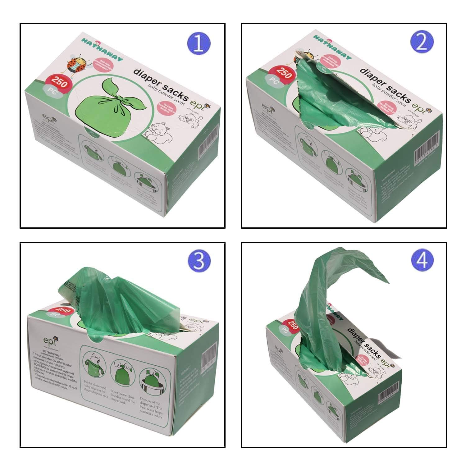 with Baby Powder Portable Nappy Bags Green Disposable Baby Nappy Sacks 250 Count by HETAIDA