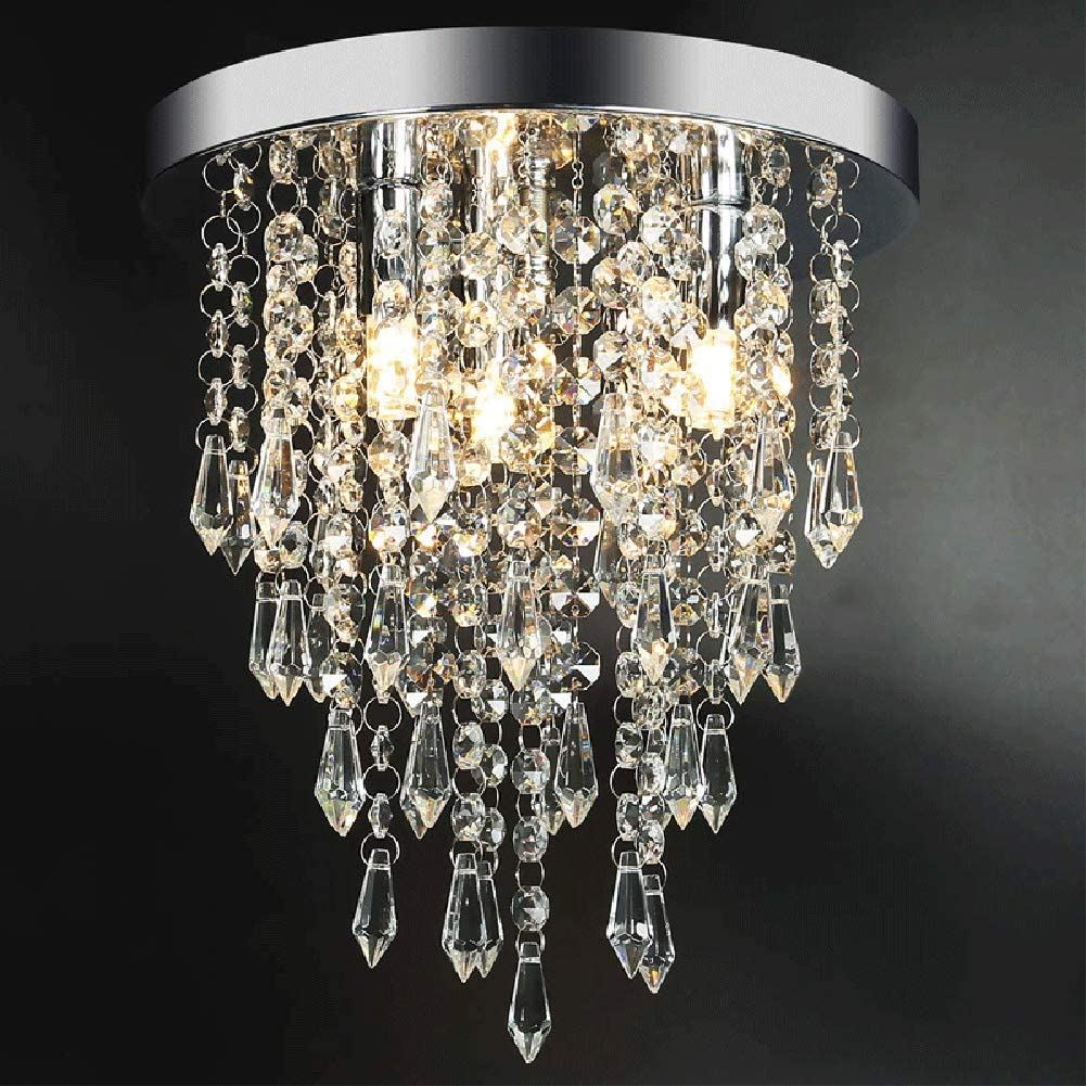10 pulgadas de di/ámetro para pasillo moderna l/ámpara de ara/ña de cristal dormitorio sala de estar cocina comedor l/ámpara de techo empotrada L/ámpara de ara/ña de cristal