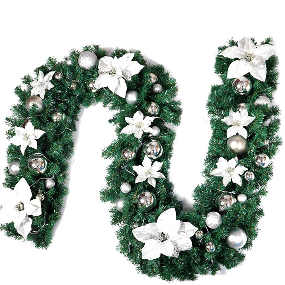 2.7 meter/9ft Christmas Pine Garland Wreath Decorative Glitter Ball Bauble,Artificial Flowers Christmas Tree Ornaments Decoration