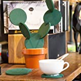 6-Piece Green Coaster Set with Flower Pot Shaped