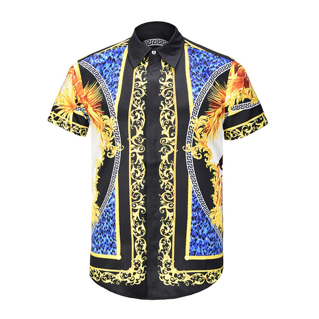 ZLL8 3D Floral Print Short Sleeve Funky Button Down Graphic Shirts for Casual Men