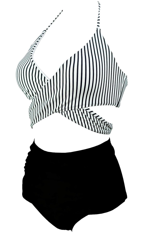 a1cd3c7e4a7b5 Amazon.com: COCOSHIP Women's Ruching High Waist Bikini Set Cross Wrap Push  up Top Tie Back Bathing Swimsuit(FBA): Clothing