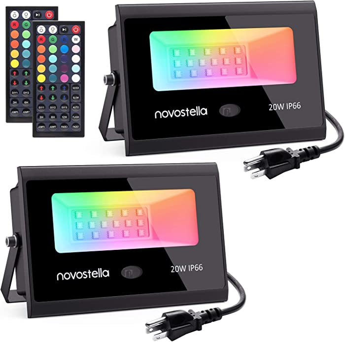 Novostella 2 Pack 20W RGB LED Flood Light, 44 Keys Controller, 20 Colors 6 Modes, Dimmable Color Changing Floodlight, IP66 Waterproof, Wall Washer Lights, Outdoor Garden Stage Landscape Lighting