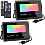 Novostella 2 Pack 20W RGB LED Flood Light, 44 Keys Controller, 20 Colors 6 Modes, Dimmable Color Changing Floodlight…