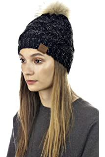 98efbebc37a Shop CLOIEshop Cloie Womens Girls Winter Black Knitted Faux Fur Beanie - Double  Pom Pom Outdoor