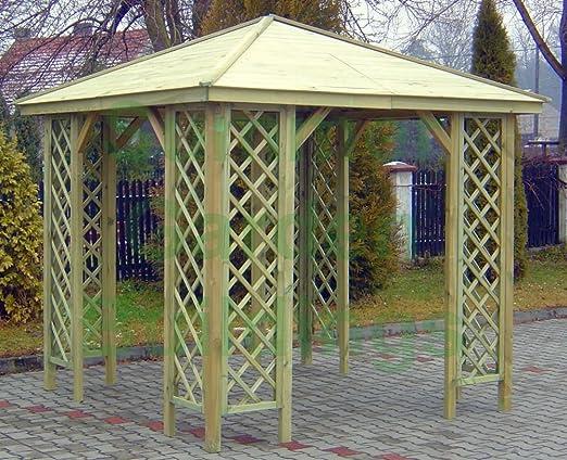 Jardín de verano edificios 8 X 8 techo Gazebo – madera tratada a ...
