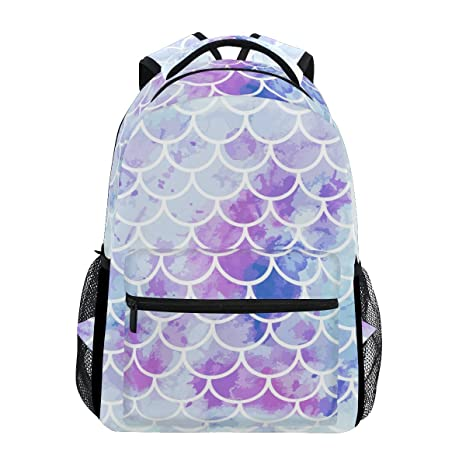 917b43853cc0 TropicalLife Colorful Mermaid Scale Backpacks School Bookbag Shoulder  Backpack Hiking Travel Daypack Casual Bags