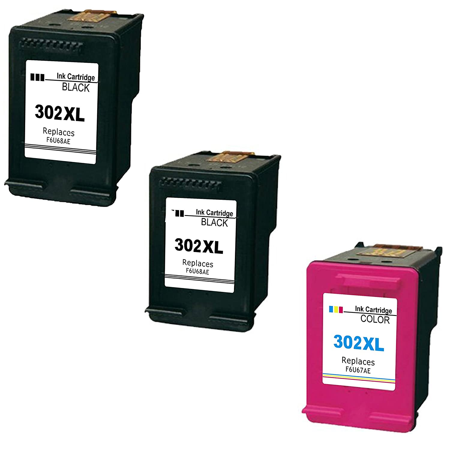 Daryo Cartridge HP 302XL Pack de 3 cartuchos de tinta para HP DeskJet 1110/2130/3630, tricolor y negro