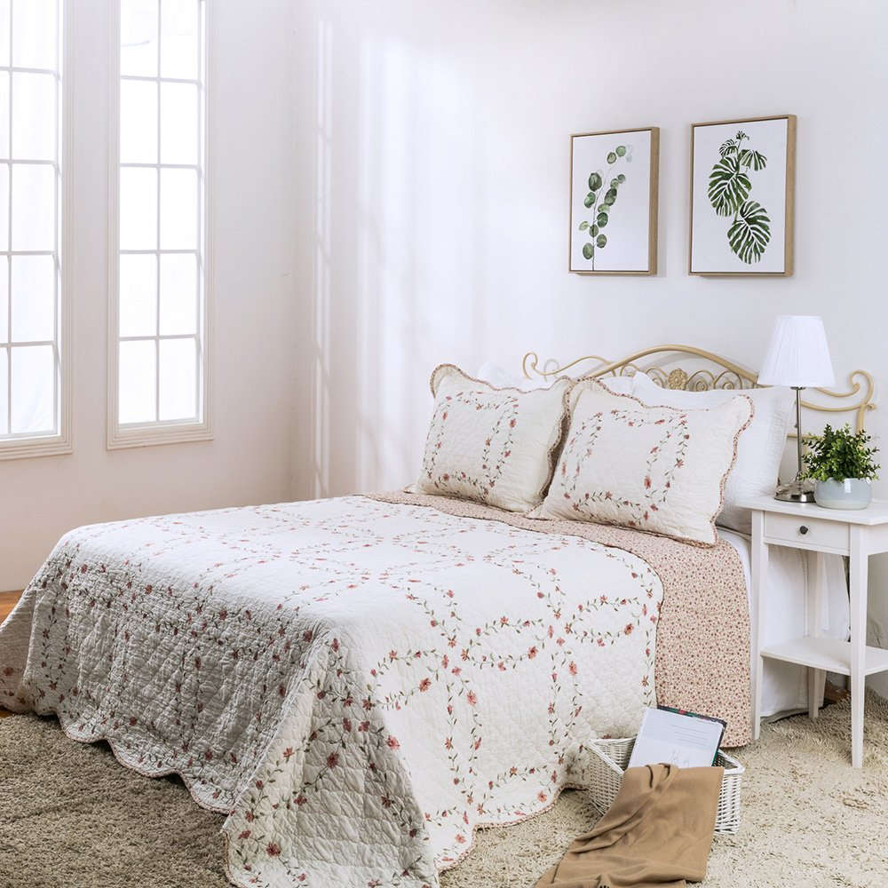 """Elegant Life 100% Cotton Reversible All-season Floral Pattern Bed Quilt Windsor Love Embroidery Coverlet Bedspread, King Size, 108""""x92"""""""