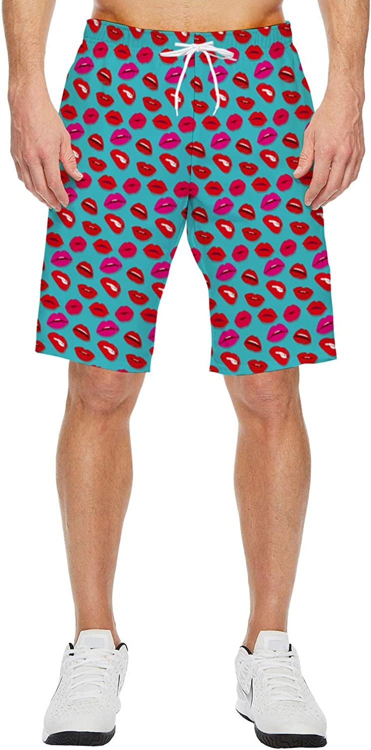 Mens Beach Shorts 3 Leapords on The Grassland Summer Casual Quick Dry Short Pants Stretch Swimming Trunks with Pocket