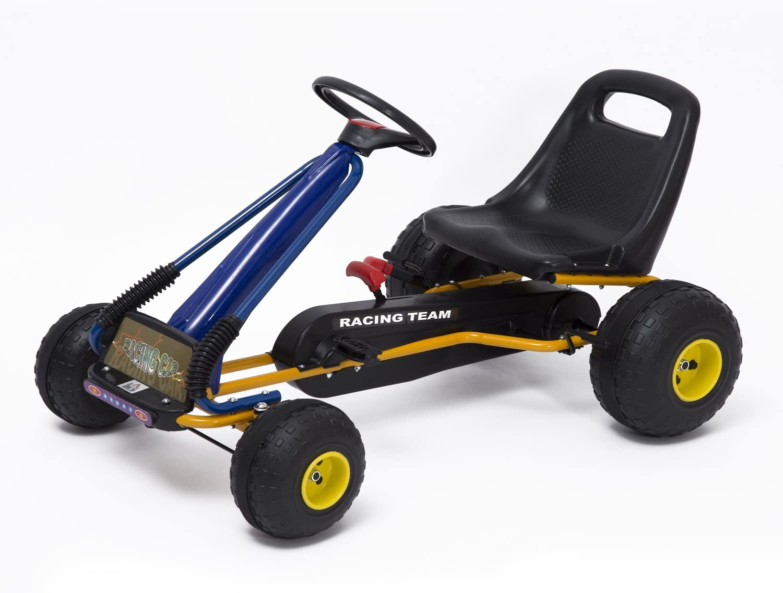 HOMCOM Go-Kart con Pedales y Ruedas Coches Niños a Pedales Aprovado por Norma EN 71 Asiento Ajustable y Freno de Mano