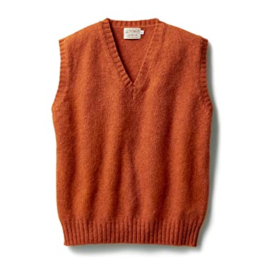 Inverallan Shetland Wool V-neck Vest: Orange