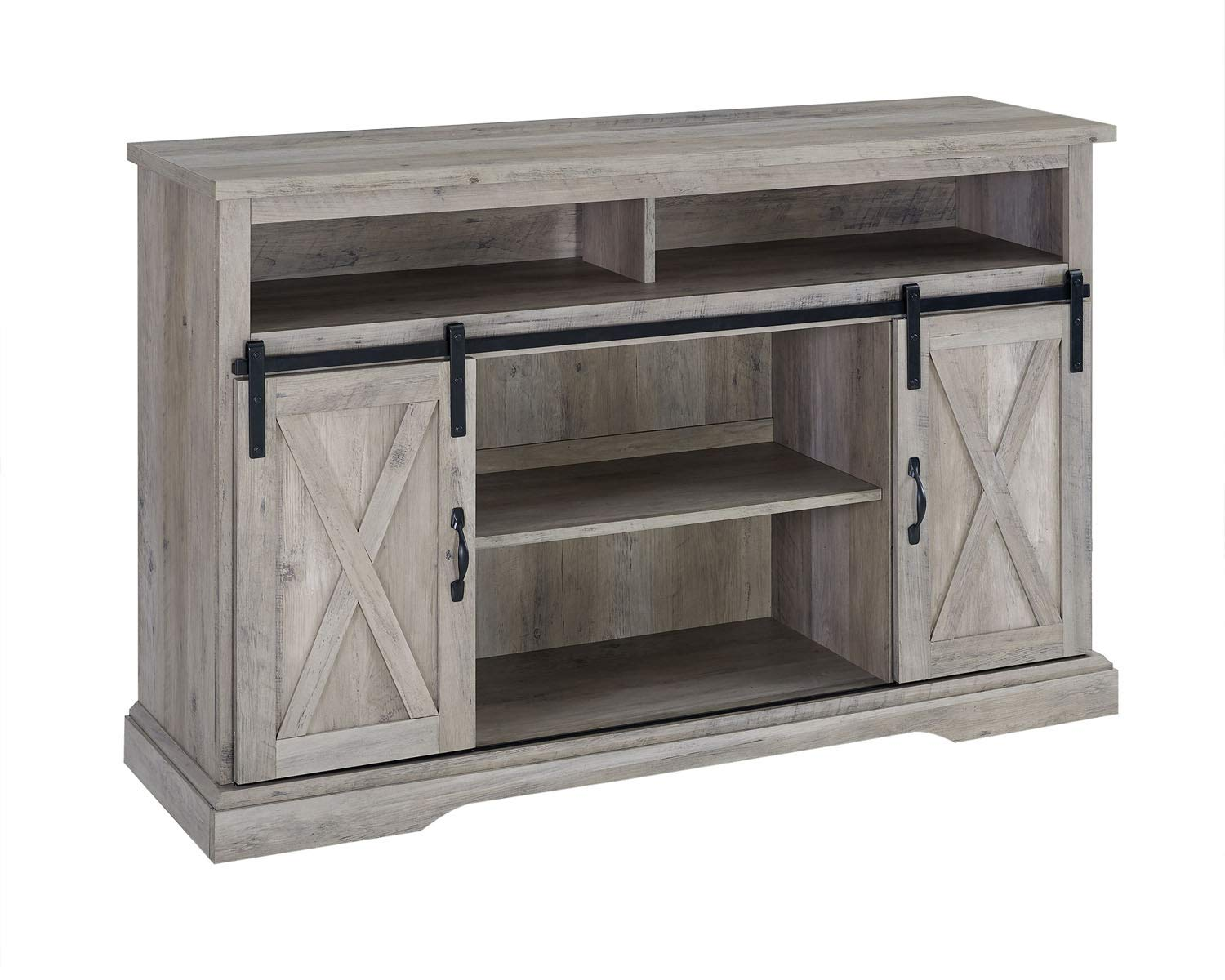 Walker Edison Furniture Company 52 Rustic Farmhouse Sliding Barn Door Highboy TV Stand – Grey Wash