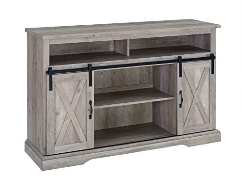 Walker Edison Furniture Company 52 Rustic Farmhouse Sliding Barn Door Highboy TV Stand – Grey Wash