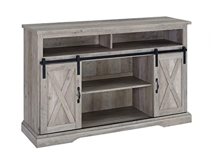 303058ca9f354 Image Unavailable. Image not available for. Color  Walker Edison Furniture  Company 52 quot  Rustic Farmhouse Sliding Barn Door Highboy TV Stand - Grey