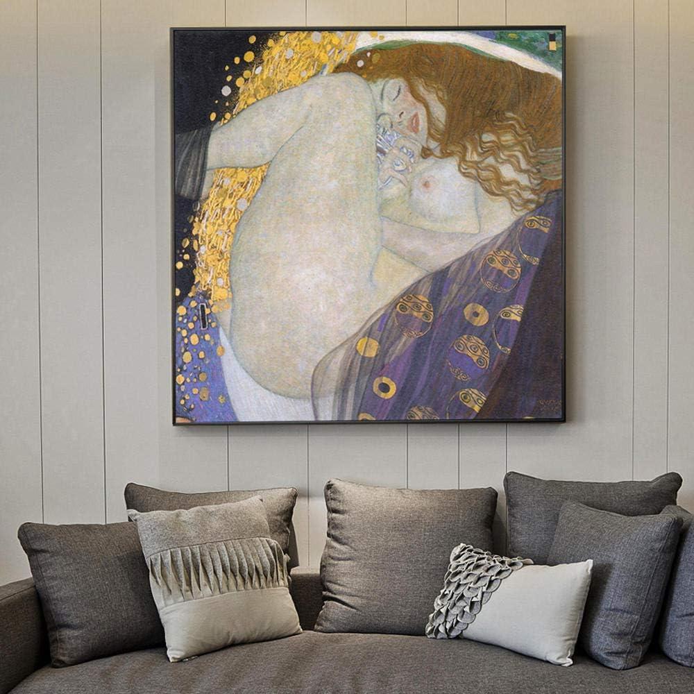 SRDFDF Cuadro en Lienzo Arte Abstracto Golden Wall Art Lienzo Retrato Pintura Copia en la Pared 60x60cm sin Marco