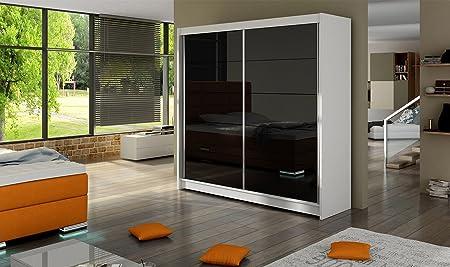Armario Fabio 1 – Blanco y Negro – 180 cm de ancho – puertas correderas: Amazon.es: Hogar