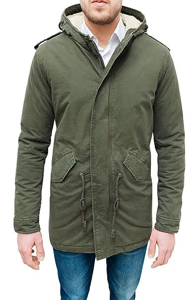 0a27b92a5c Evoga Giaccone Parka Uomo Verde Militare Casual Slim Fit Invernale con  Pelliccia