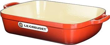 Le Creuset Signature Cast Iron Rectangular Roaster, 5.25-Quart, Cerise (Cherry Red)