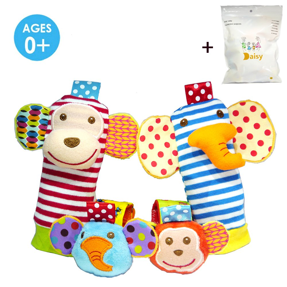 4 x Baby Infant Soft Toy Animal Wrist Rattles Hands Foots Finders Developmental Toys (Monkey and Elephant) thebestchoice2016
