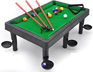 Petite Billiards– the classic pool table set with 6 stands with attached side/corner