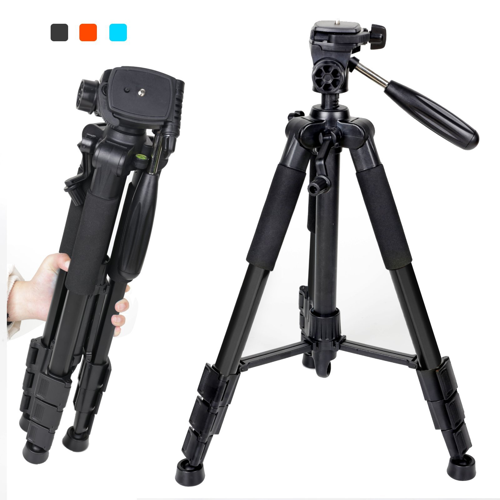 Zomei Q111 Flexible Portable 55'' Aluminium Tripod Compact Lightweight 4s Camera Stand with 1/4 Mount 3-Way Panhead and Carrying Bag for Digital DSLR EOS Canon Nikon Sony Panasonic Samsung Black