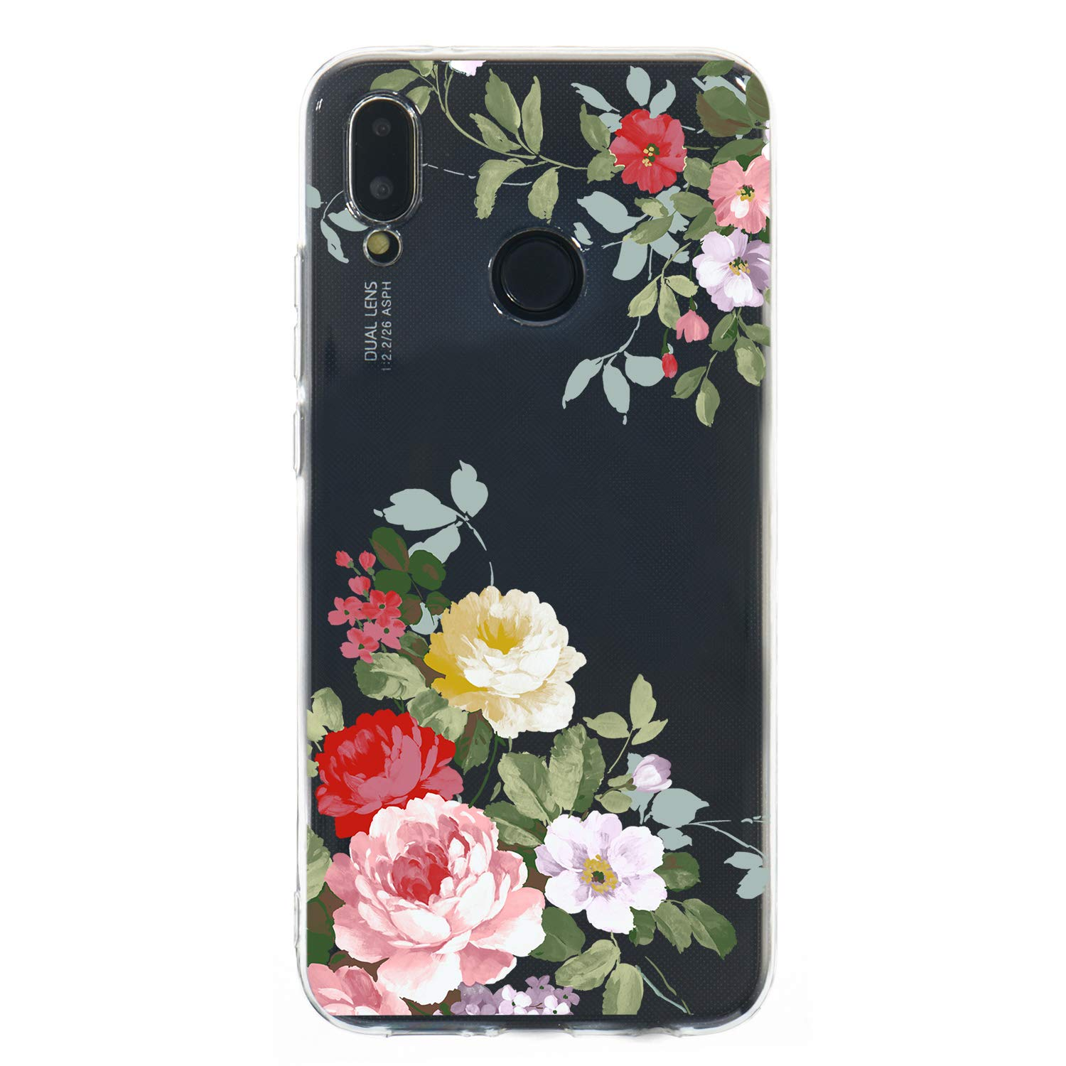 Soft Clear Case for Huawei P20 Lite,Flexible Plastic Case for Huawei P20 Lite,Moiky Creative Diagonal Green Branch Peony Printed Ultra Thin TPU Silicone Transparent Crystal Slim Fit Back Cover Case by MOIKY (Image #2)