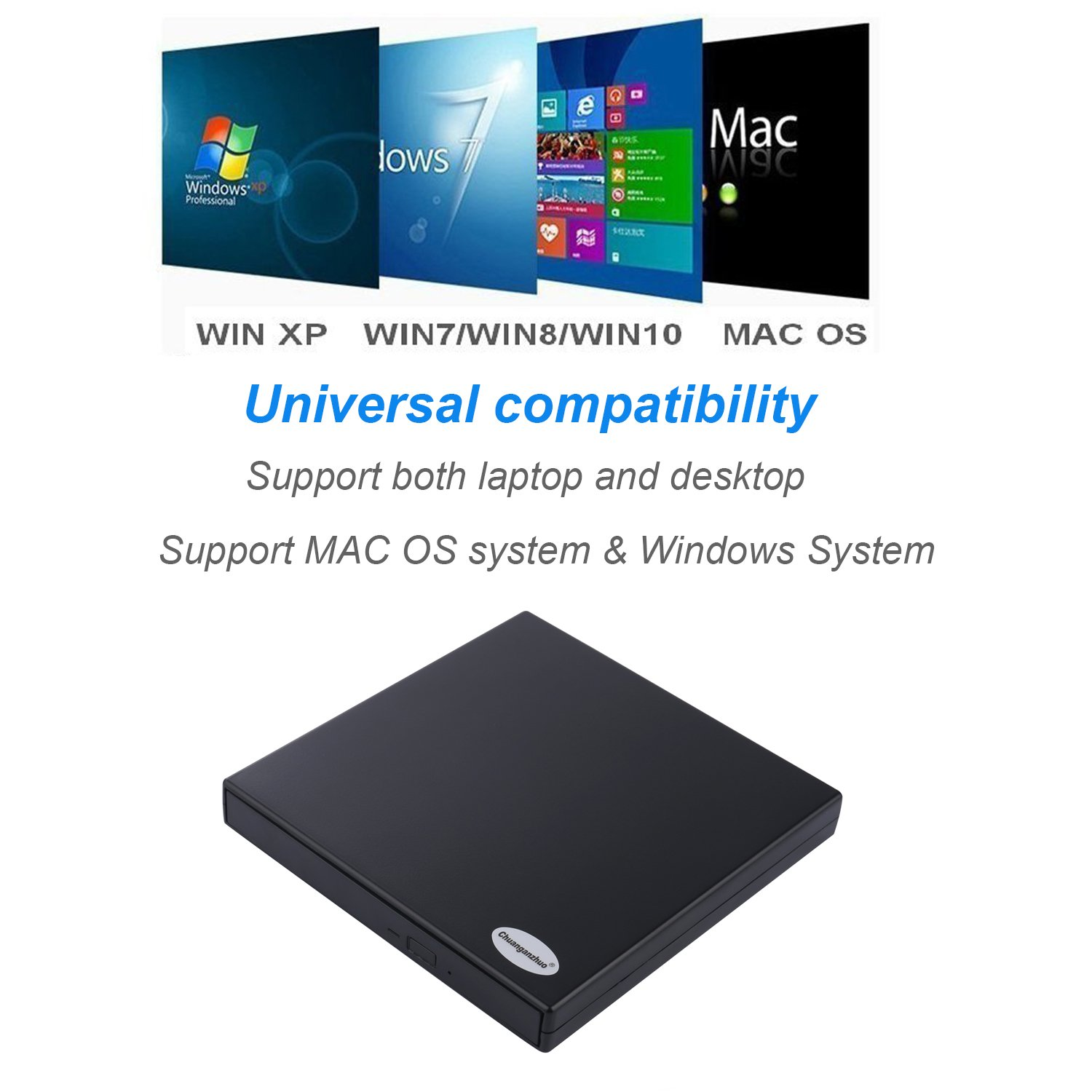 Chuanganzhuo USB 2.0 External DVD Combo CD-RW Burner Drive For Mac,Windows 2000/XP/Vista/7/8/10,Ultra Notebook PC Desktop Computer,Plug and Play,No Need to Install Driver with CD Driver,Black (CD-RW) by Chuanganzhuo (Image #7)