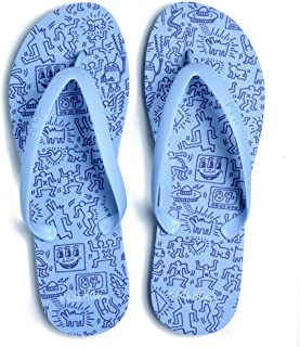 product image for Tidal New York - Comfortable Flip Flop Sandals for Men - Keith Haring - Blue - Made in The USA