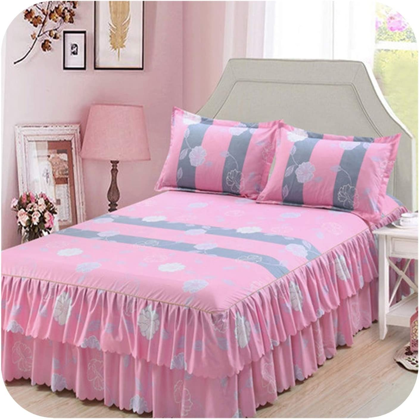 Classic Double Layer Bed Skirt Bedding Set Flower Printing Skirts Bed Linen 3pcs/Set Pastoral Bed Sheet Home Textile Pillowcase,6,180x200CM