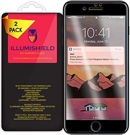 2-Pack Black Version 2.5D Glass Anti-Scrach and No-Bubble Tempered Glass iLLumiShield Glass Screen Protector Compatible with Apple iPhone 7
