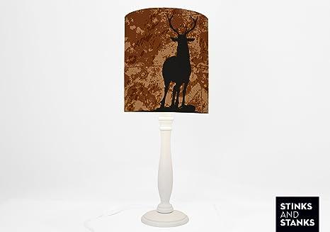 Tischlampe Mit Holzfuss Hirsch Reh Tlg014 Amazon De Beleuchtung