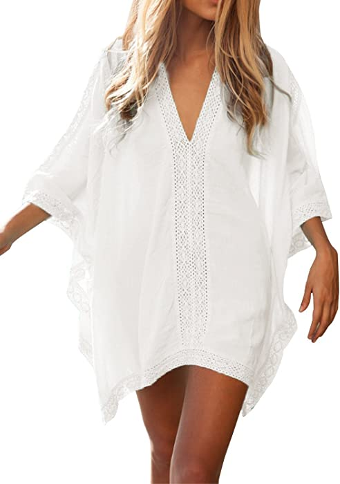 f504668234 Women  s Solid Oversized V-Neck Beach Bikini Cover up Swimsuit Bathing Suit  Beach Dress (White