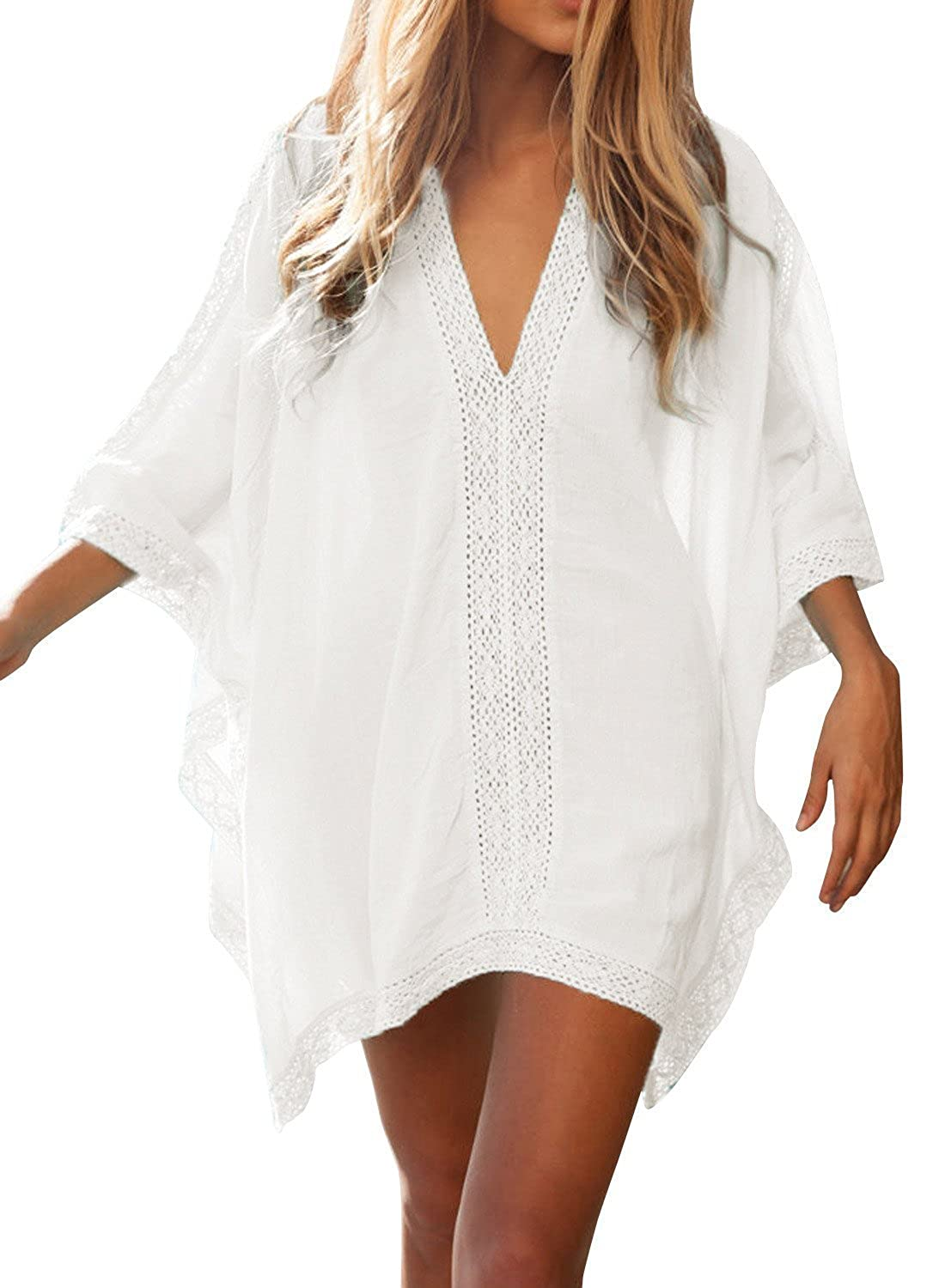 290cc52037e FMing Women's Solid Oversized V-Neck Beach Bikini Cover Up Swimsuit Bathing  Suit Beach Dress White at Amazon Women's Clothing store: