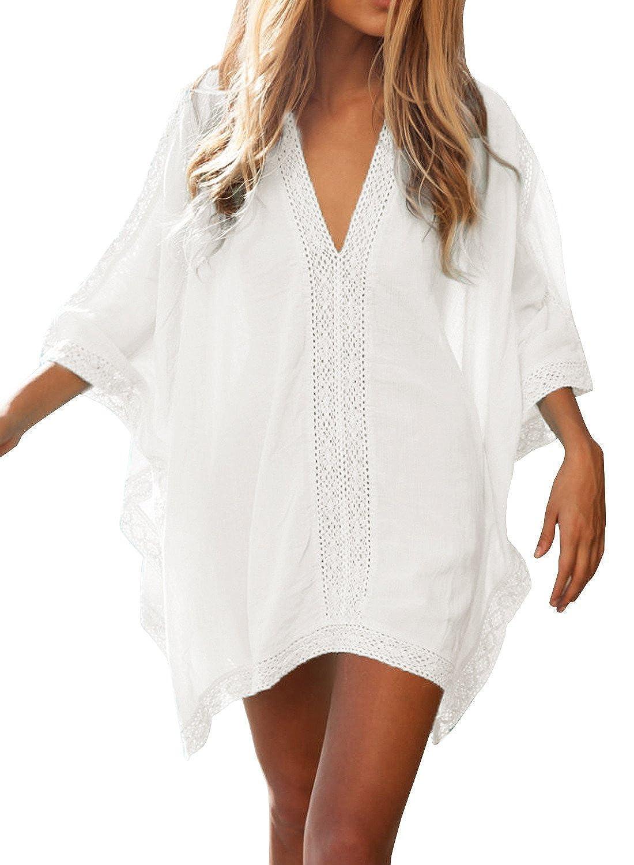 5875d930ef FMing Women's Solid Oversized V-Neck Beach Bikini Cover Up Swimsuit Bathing  Suit Beach Dress White at Amazon Women's Clothing store: