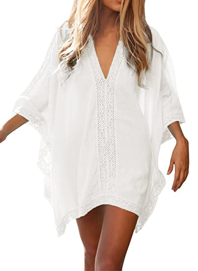 5875d930ef FMing Women's Solid Oversized V-Neck Beach Bikini Cover Up Swimsuit Bathing  Suit Beach Dress White at Amazon Women's Clothing store: