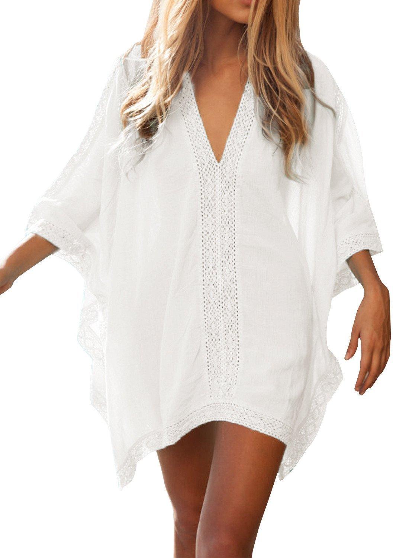 Women' s Solid Oversized V-Neck Beach Bikini Cover up Swimsuit Bathing Suit Beach Dress (White, One Size)