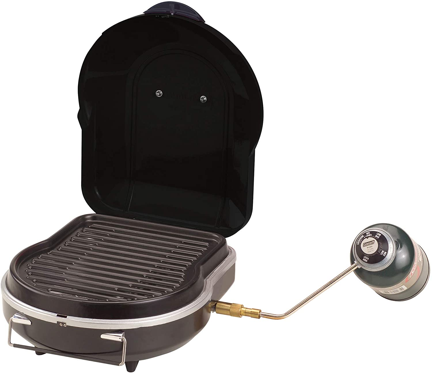 Image of a propane grill with lid open. A propane-filled canister attached to it.