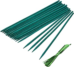 "UCSAJI 50PCS 15"" Green Wood Plant Stake Floral Plant Support Wooden Sign Posting Garden Sticks for Lengthen Short Flower Greenery Stems (50, 15)"